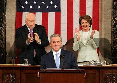 Speaker Nancy Pelosi behind Bush